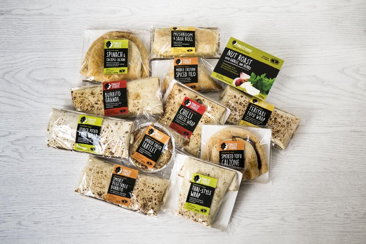 Selection of Forest Foods savoury vegetarian and vegan products